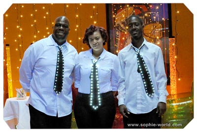 The staff wore glowing ties|sophie-world.com