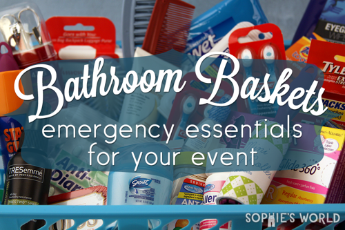 Put together baskets of toiletries for your large events|sophie-world.com