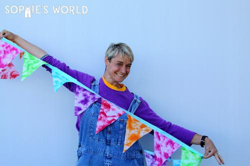 Create a birthday banner out of bandanas at sophie's world