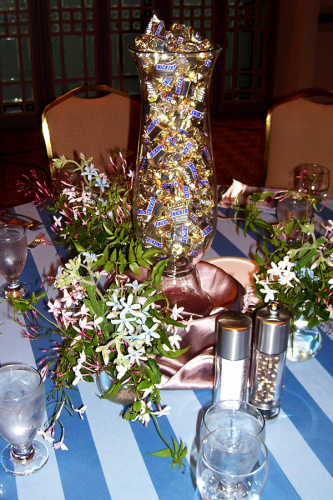 Fill a glass vase with purchased candy for your centerpiece