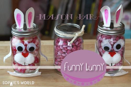 Hidden Compartment Mason Jar Funny Bunnies|sophie-world.com