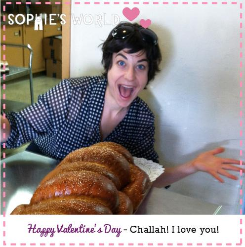 My Punny Valentine- Challah, I love you!|sophie-world.com