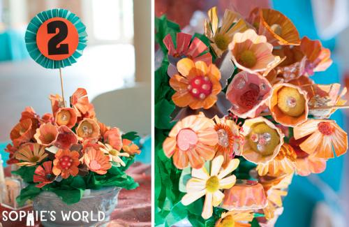 Egg Carton Painted Flower Bouquet|sophie-world.com