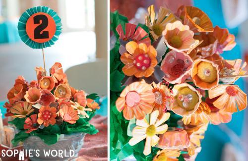 Egg Carton Painted Flower Bouquet|sophie-world.com