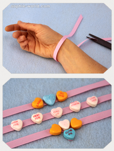 Candy hearts can be used to make bracelets|sophie-world.com