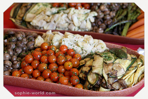 Vegetables and salads on the buffet table from sophie's world