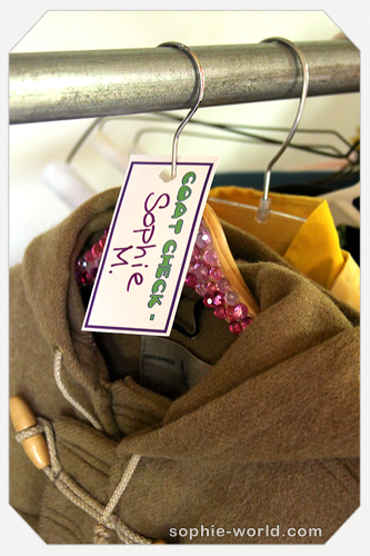 Handwritten coat check tags form sophie's world