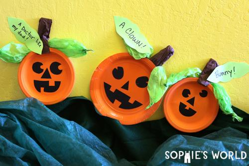 Paper Plate Pumpkin Patch Craft|sophie-world.com & Simple Halloween Crafts for the Classroom | Sophie\u0027s World