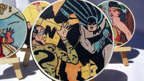 Comic book mod podge coasters at Sophie's World