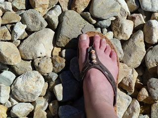 Not the correct shoes to wear on a rocky beach|sophie-world.com
