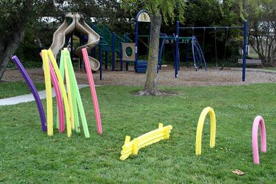 An obstacle course made from pool noodles|sophie-world.com
