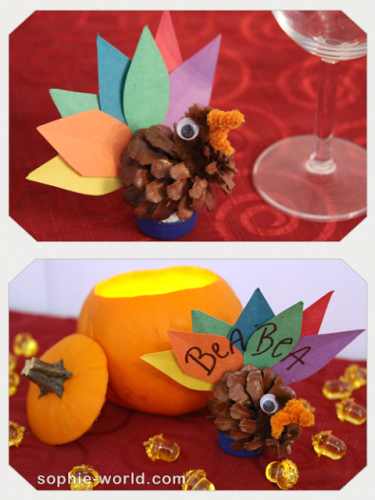 Use a pine cone turkey as a placecard|sophie-world.com