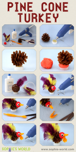 Here is how to make a pine cone turkey|sophie-world.com