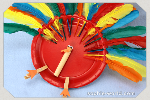 A simple paper plate becomes and adorable turkey|sophie-world.com