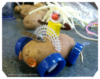 Make cars out of potatoes at your video game party|sophie-world.com