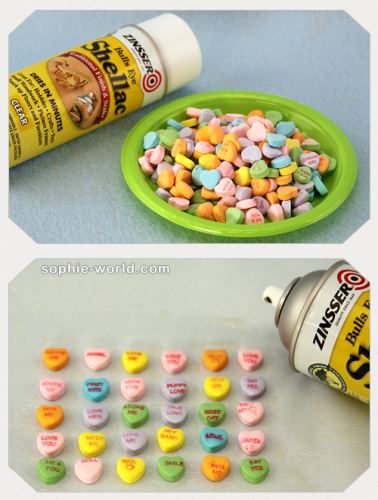 It is best to coat your candy hearts in shellack before crafting