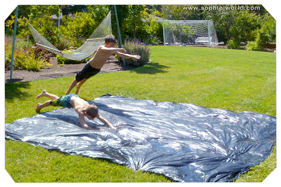 a homemade slip and slide|sophie-world.com