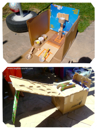 some cardboard games created at camp|sophie-world.com