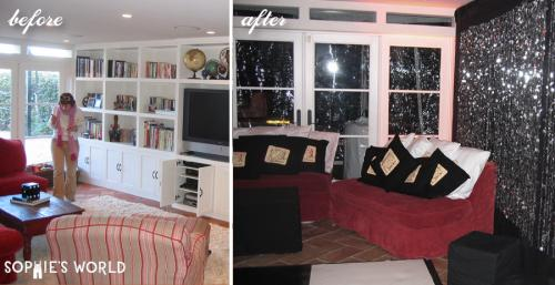 Transform a living room with fabric|before and after|sophie-world.com