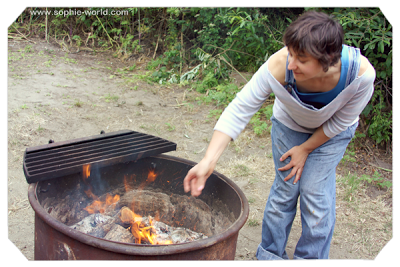 My sister Freda shows us how to start a campfire|sophie-world.com