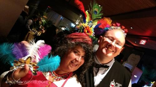 Jane and staff in headdresses   sophie-world.com