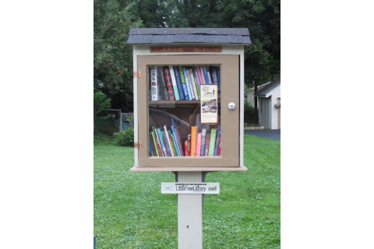 A little free library example from Casey at sophie-world.com