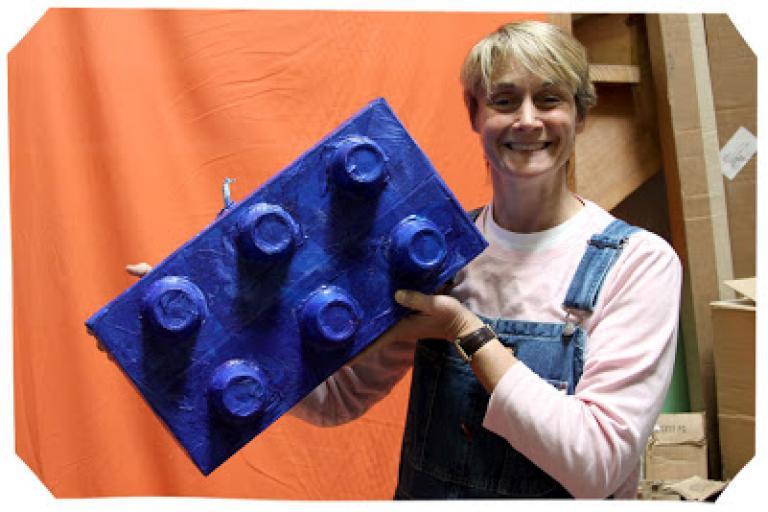 Sophie and her handmade lego pinata|sophie-world.com
