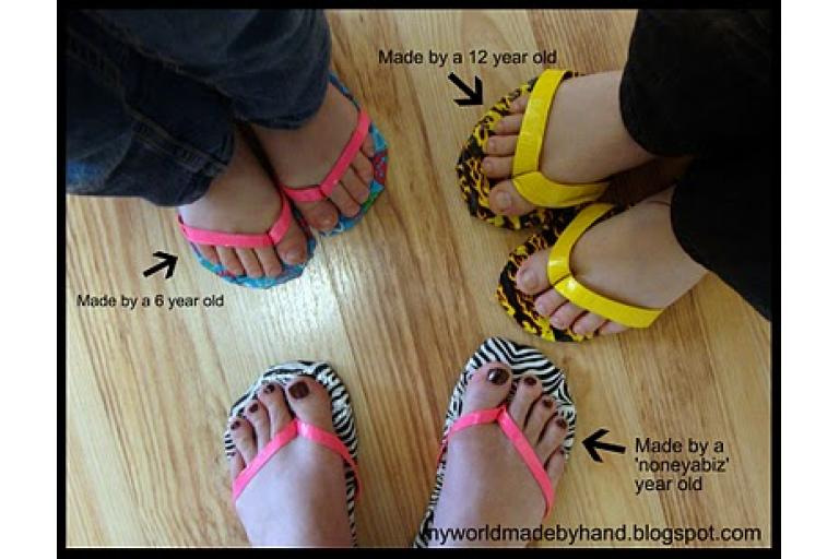 Another example of duct tape flip flops via My World Made by Hand