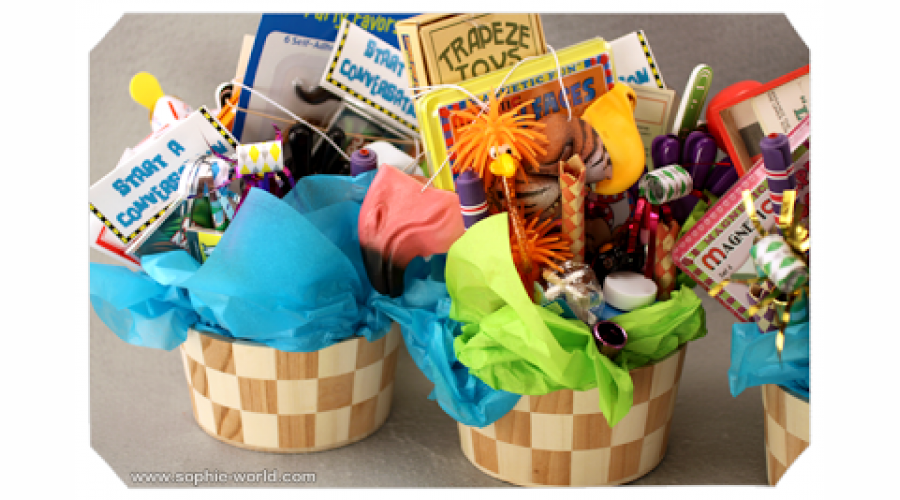 An example of baskets of table toys from sophie's world