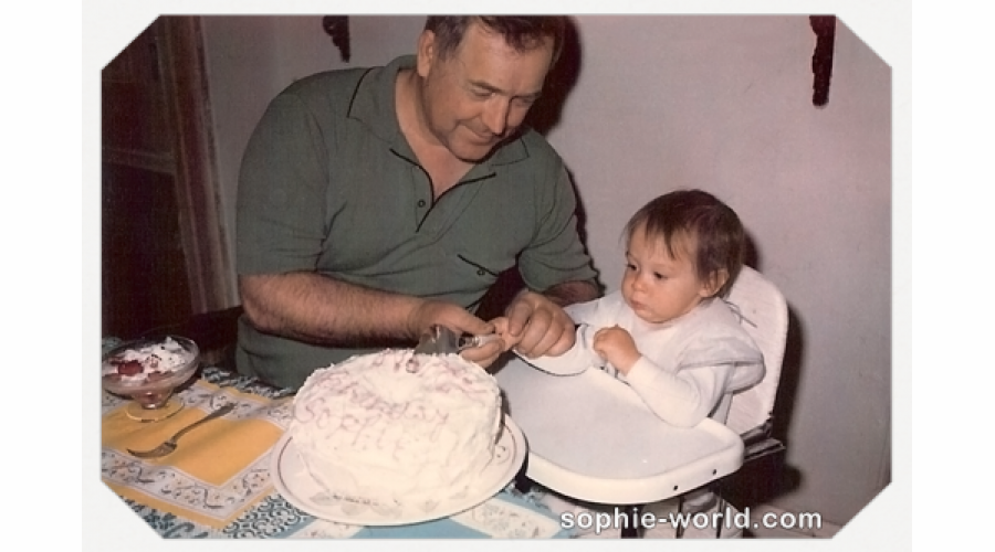 Sophie, her grandfather and cake|sophie-world.com
